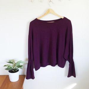Zara Bell Sleeve Purple Sweater Blouse
